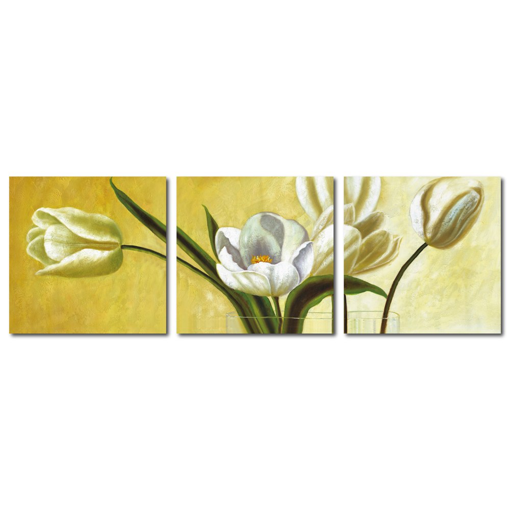 123點點貼- 三聯式花朵風無痕創意壁貼 - 清新脫俗 30*30cm