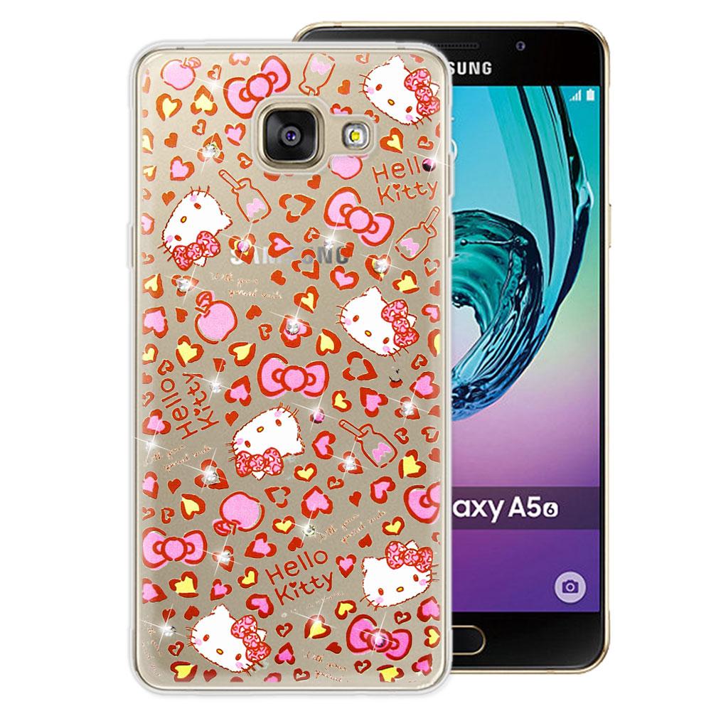 三麗鷗 Kitty 三星 Galaxy A5 (2016) 水鑽系列透明手機殼(豹紋凱蒂)