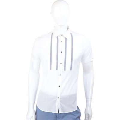 KENZO 灰線條棉質短袖襯衫(白色)