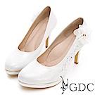 GDC-浪漫紡紗花朵水鑽唯美新娘跟鞋-白色