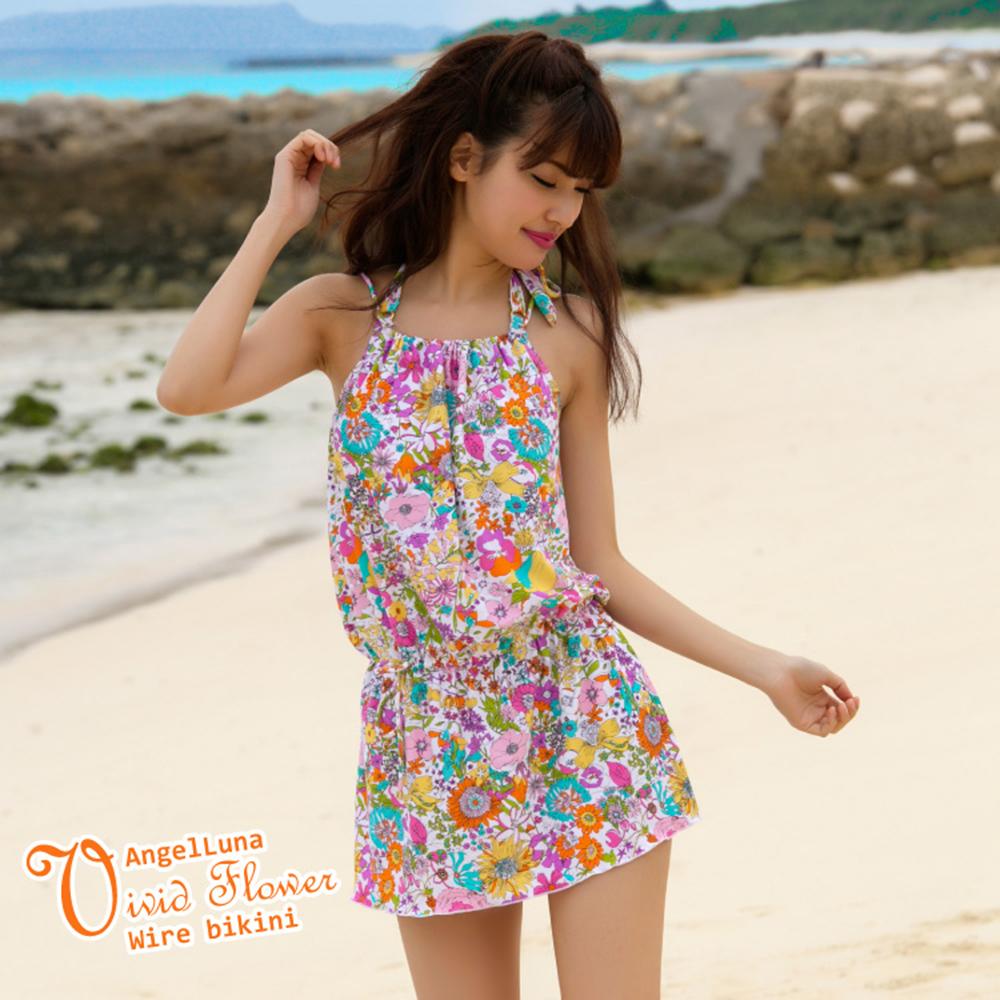 【AngelLuna日本泳裝】活潑印花三件式比基尼泳衣-粉色連身裙