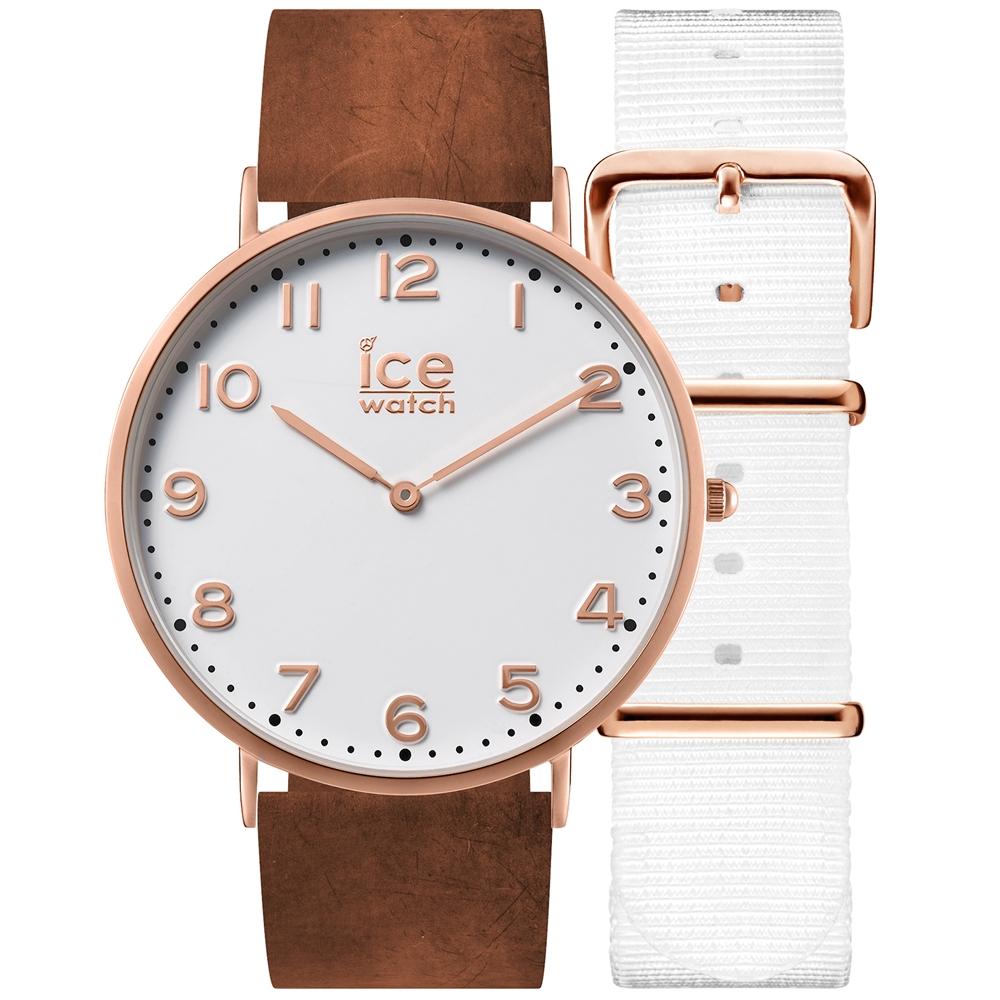 Ice-Watch 城市系列 復刻超薄簡約手錶-白x咖啡色皮帶/41mm