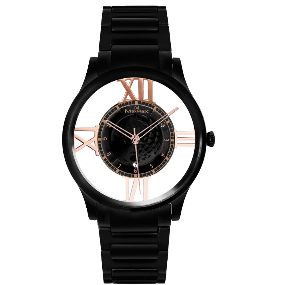Max Max  遨遊世界鏤空時尚腕錶-黑/38mm