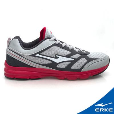 ERKE 鴻星爾克。男運動常規慢跑鞋 淺灰/石竹橙