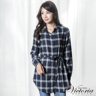 Victoria 格紋綁帶長版長袖襯衫-女-藍白格
