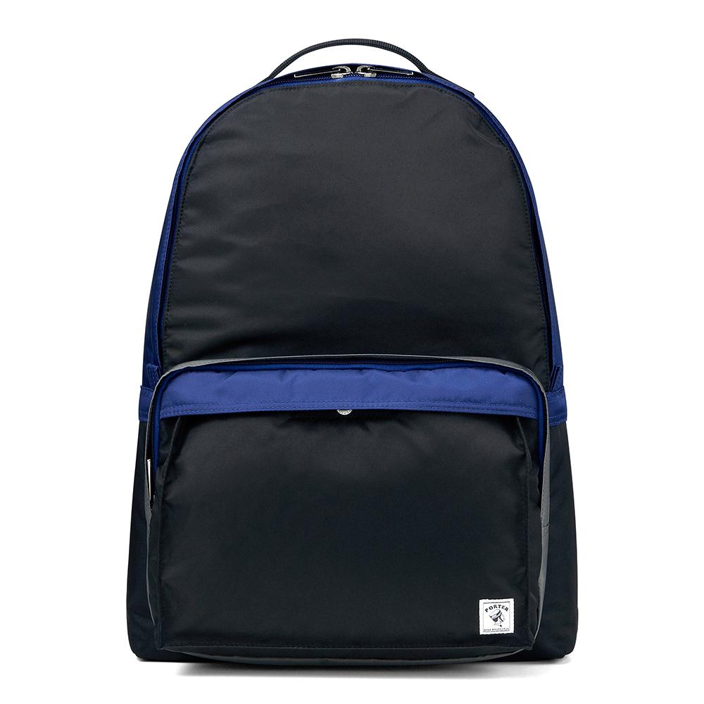 PORTER - 放色時尚PLAY簡約休閒後背包_M - 黑/藍