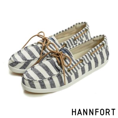 HANNFORT CALIFORNIA條紋帆布氣墊帆船鞋-女-海洋藍