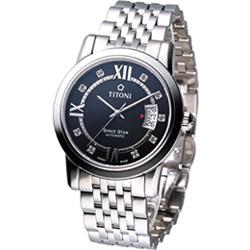 TITONI Spacestar 世紀之星紳士機械腕錶-黑/39mm