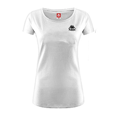 KAPPA義大利 時尚女運動棉質SLIM FIT 短袖衫(合身版) 白 黑