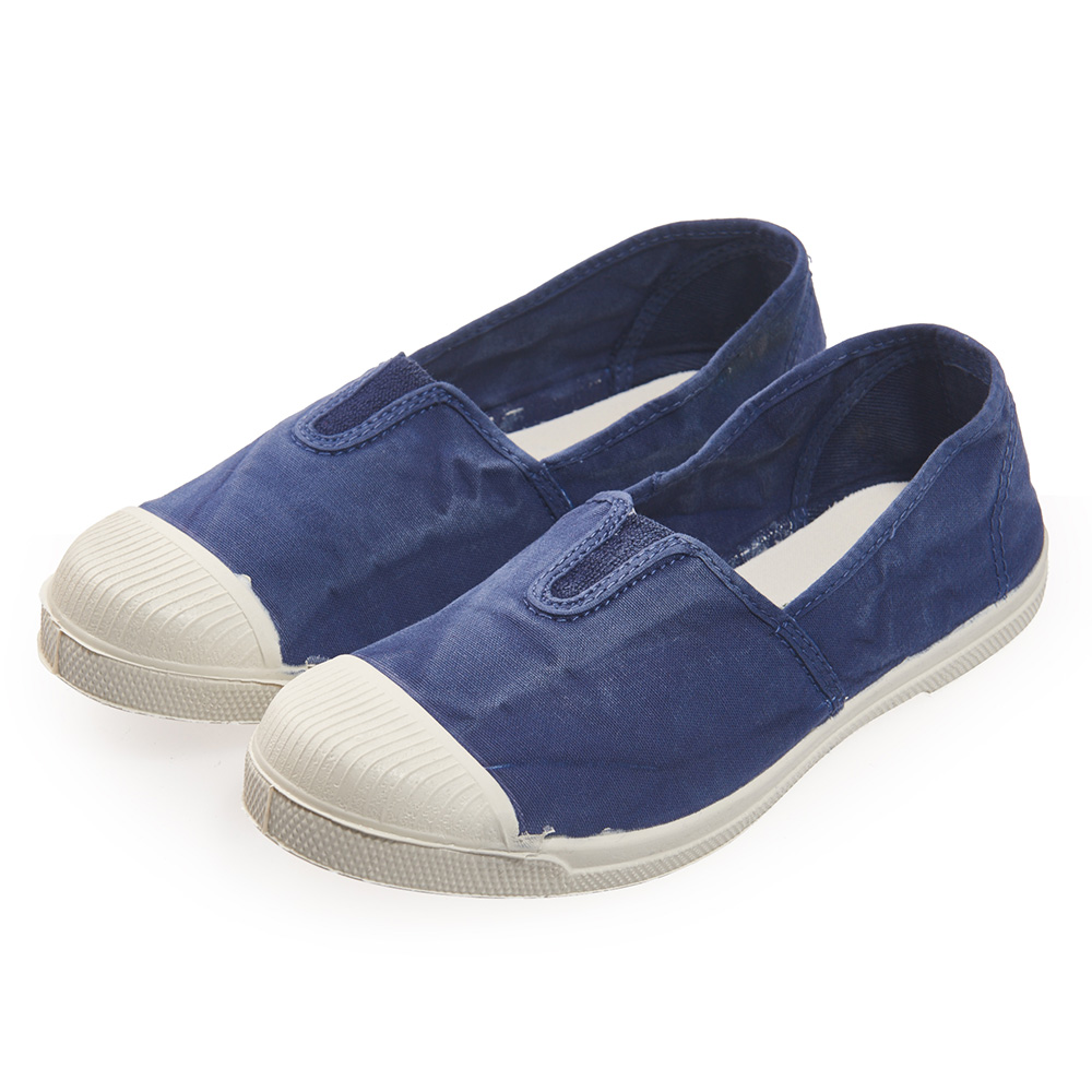(女)Natural World 西班牙休閒鞋 刷色鬆緊基本款*藍色