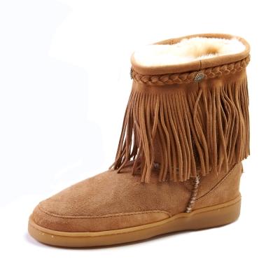 MINNETONKA-經典防潑水流蘇羊毛雪靴-棕色