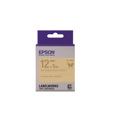 EPSON C53S654461 LK-44KK雙色緞帶系列 金杏底金字標籤帶寬12mm