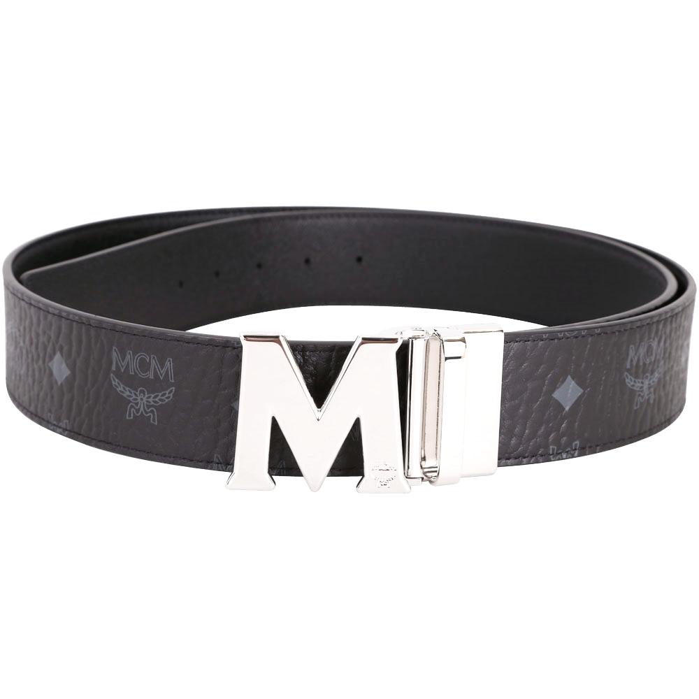 MCM Claus 銀字M釦頭雙面兩用腰帶(黑色)