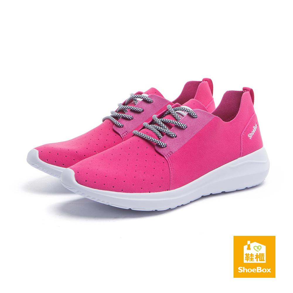 達芙妮DAPHNE ShoeBox系列 運動鞋-超纖布沖孔綁帶運動休閒鞋-桃紅