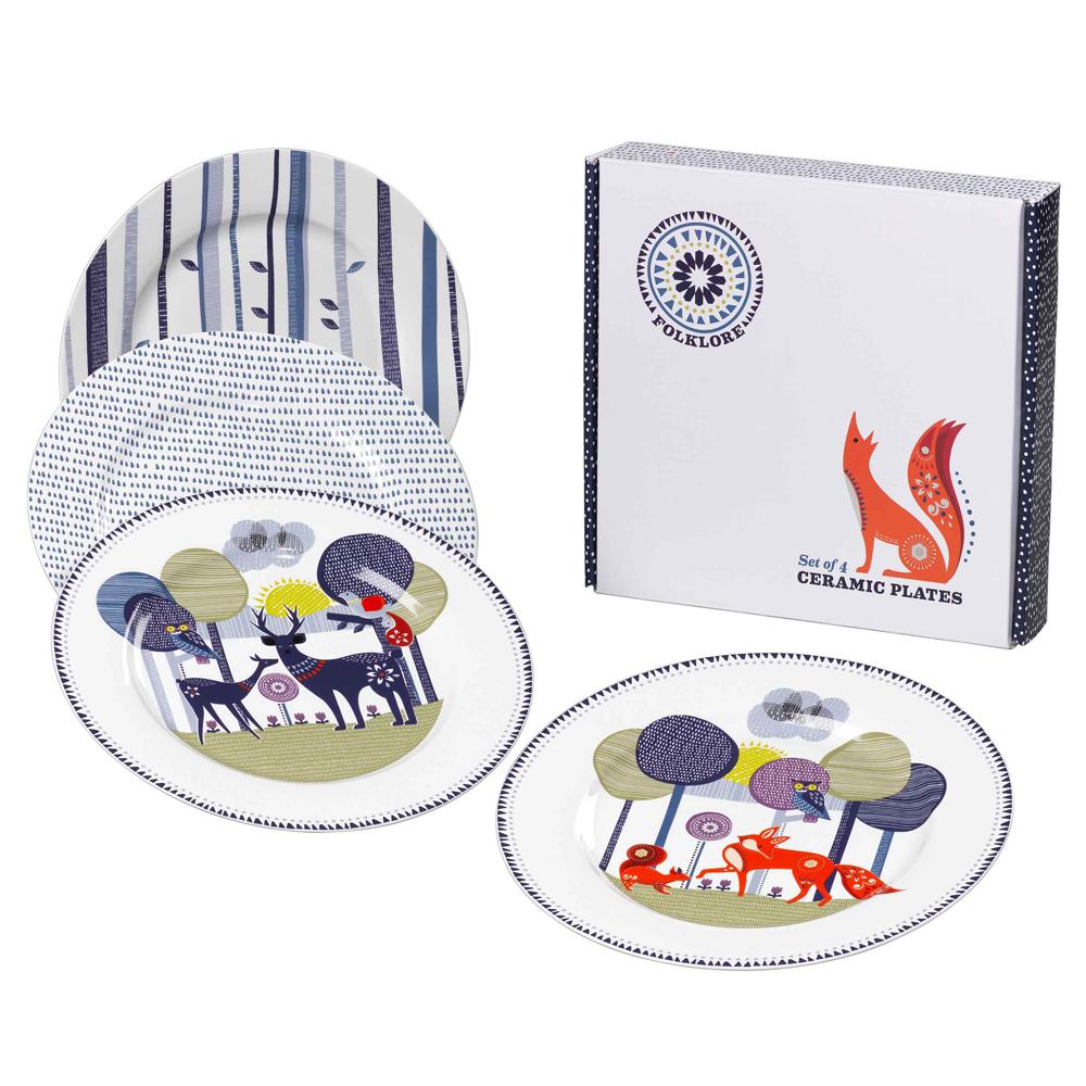 英國Wild&Wolf 森林動物系列 瓷器餐盤四入組 23cm