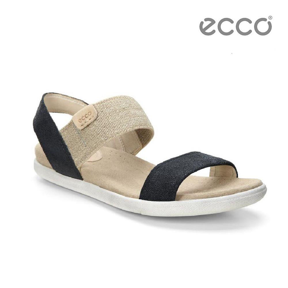 ECCO DAMARA SANDAL 棉麻意象平底涼鞋-黑