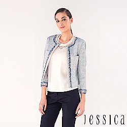 JESSICA - 高貴緹花鑽珠外套(藍)