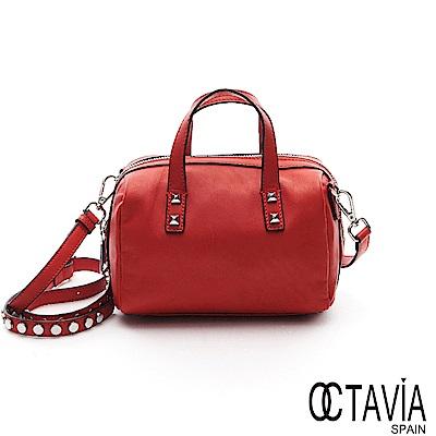 OCTAVIA  8  真皮- 絕對心機 牛皮鉚釘背帶小波士頓肩斜二用包- 心思紅