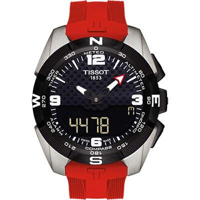 TISSOT T-TOUCH鈦太陽能觸控錶(T0914204705700)-紅/45mm