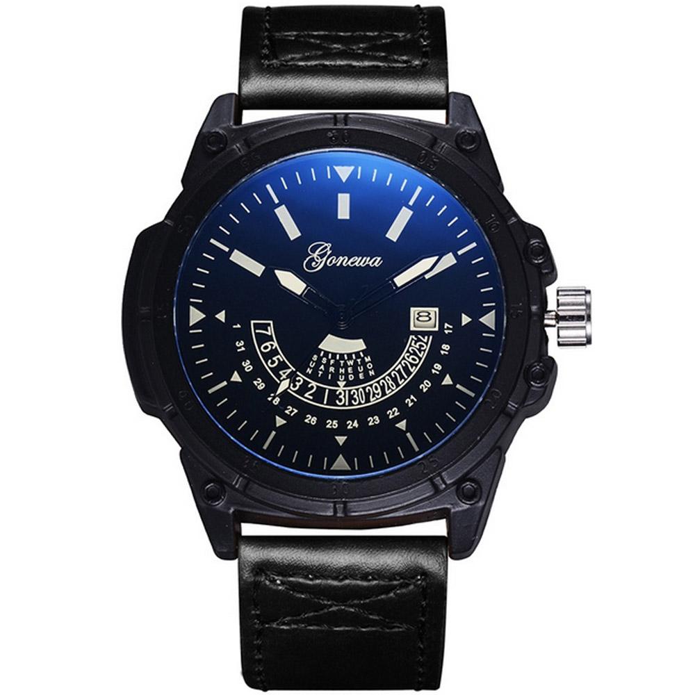 Gonewa-紳士特務 獨領風騷裝飾潮流日曆手錶(3色任選)