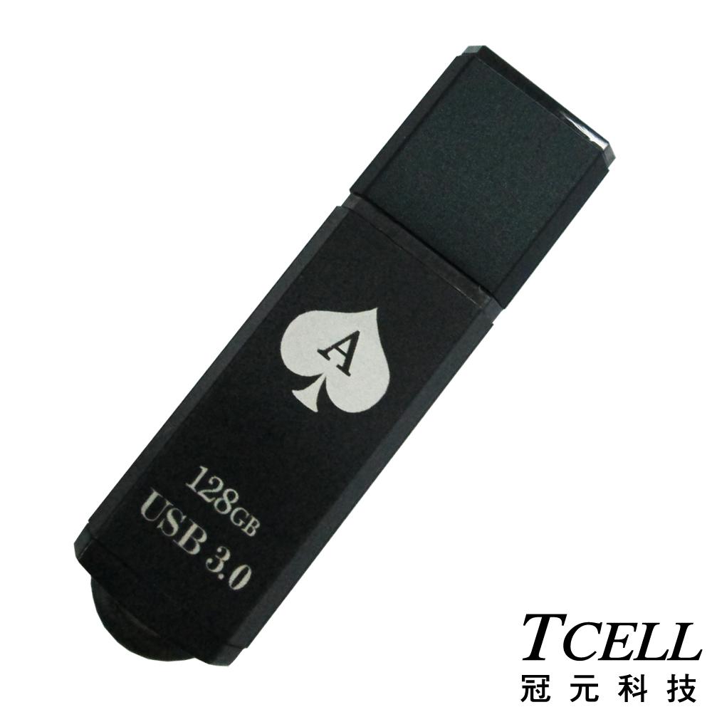 TCELL冠元 USB3.0 128GB 撲克碟(黑色)
