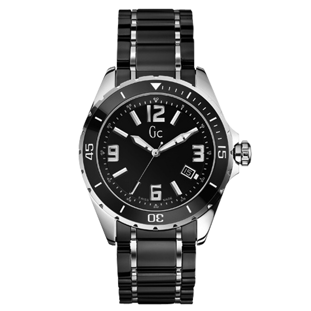 Gc 時尚紳士日期陶瓷腕錶-黑/43mm