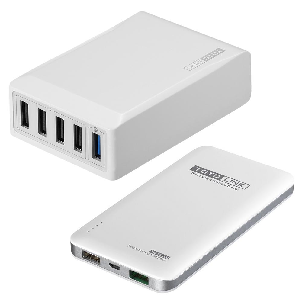 TOTOLINK QC3.0閃充充電器UP405-QC1 + 行動電源 TB10000-W
