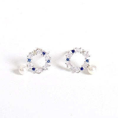 微醺禮物 正韓 鍍K金針  冰雪奇緣 藍白鋯 鏤空圈圈 人造珍珠 簡約精緻可愛春天 耳針