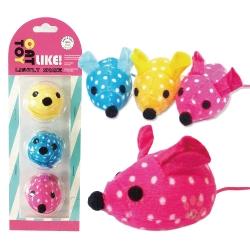 寵喵樂《逗貓玩具-點點彩色絨布老鼠》3入/一組(LWT-88156)