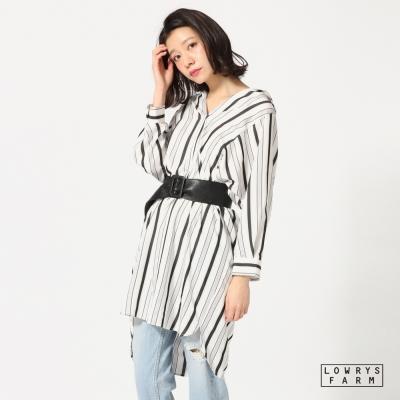 LOWRYS-FARM落肩V領直條紋透光長版長袖襯衫連身裙-三色