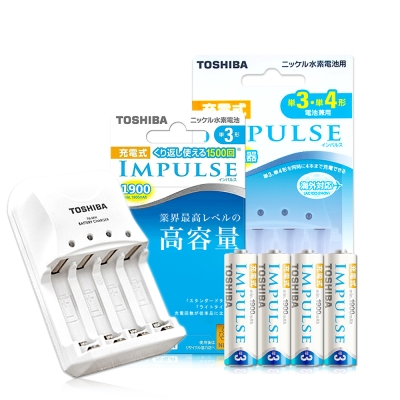 TOSHIBA智慧型急速充電器+1900mAh低自放3號電池(4顆入)