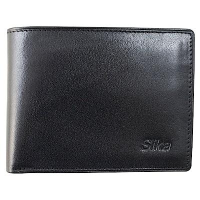 SIKA義大利素面牛皮短皮夾A8272-03質感黑