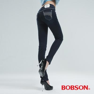 BOBSON 亮鑽保暖紗小直筒褲-深藍 8062-52