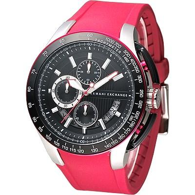 A X Armani Exchange重機型男計時運動錶-橡膠紅45mm