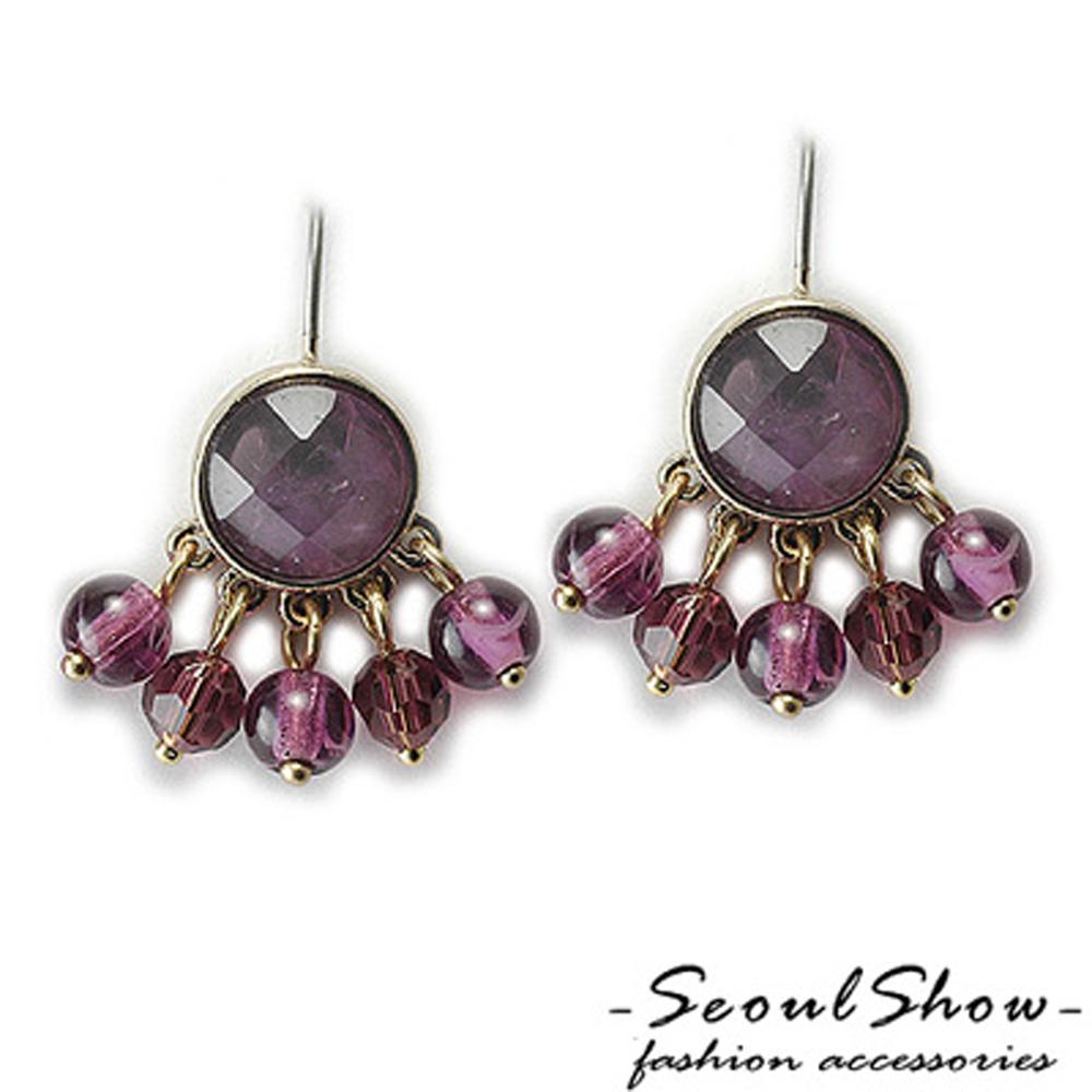 【Seoul Show】紫晶情迷 紫水晶針式耳環