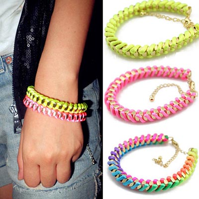 【Aimee Toff】彩色螺旋編織個性時尚手環