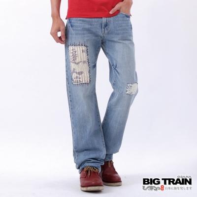 BIG TRAIN-低腰拼接中直垮褲-中藍
