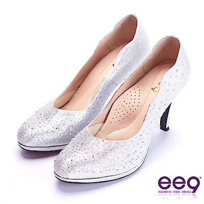 ee9 芯滿益足名媛專屬夢幻晶鑽跟鞋 銀色