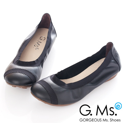 G.Ms. MIT系列-織帶拼接羊皮娃娃鞋-優雅黑