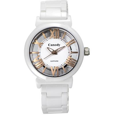 Canody 浮雕時尚 雙鏤空羅馬陶瓷腕錶-白x玫瑰金/ 35mm