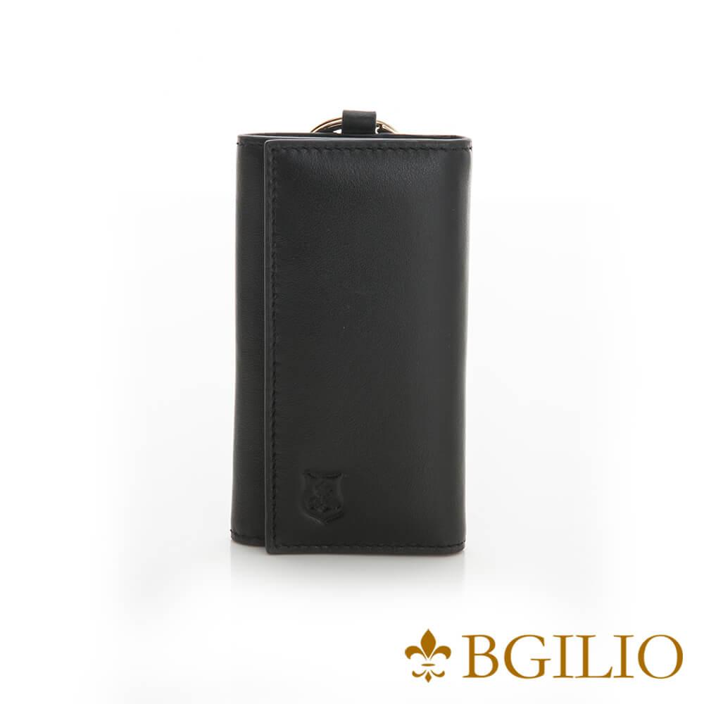 義大利BGilio-NAPPA軟牛皮中性鑰匙包-黑色-1605.310B-05