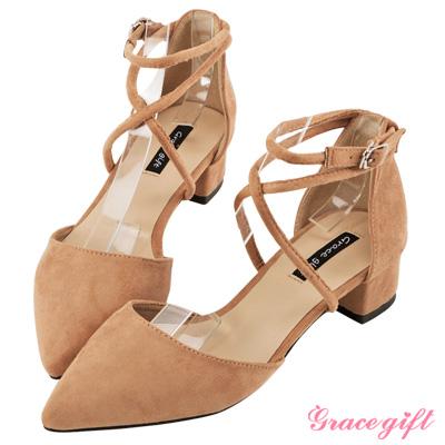 Grace gift-交叉繞踝優雅跟鞋 粉