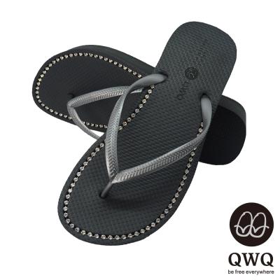 QWQ夾拖的創意(女) - 慛燦面鑽 3cm夾腳拖鞋 - 尊榮黑