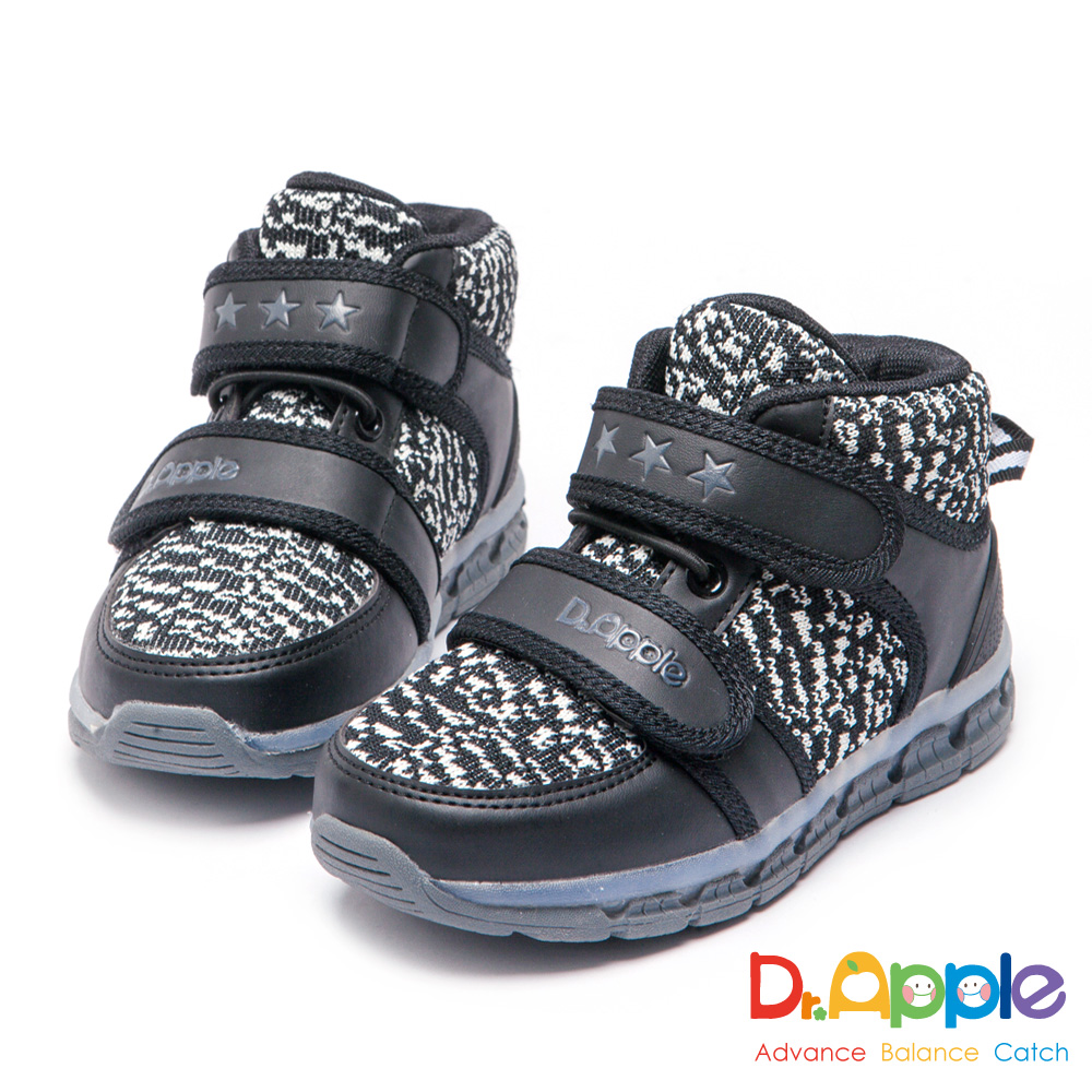 Dr. Apple 機能童鞋 保暖毛尼發光短靴童鞋-黑