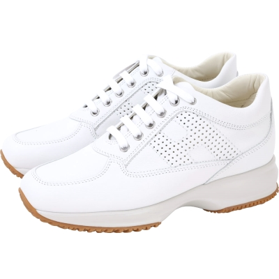 HOGAN Interactive H LOGO後增高綁帶皮革休閒鞋(白色)