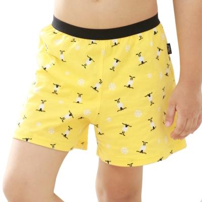 SOLIS 麋鹿公仔 120-150 純棉男童 四角內褲(鵝黃色)