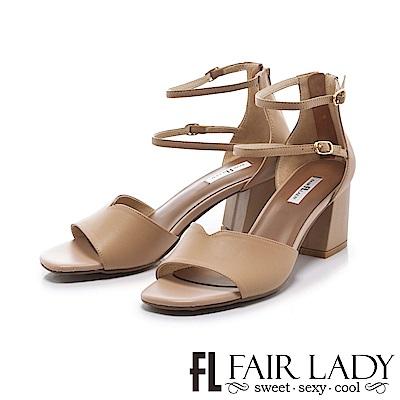 Fair Lady 優雅延伸腳踝繞帶粗跟涼鞋 卡其