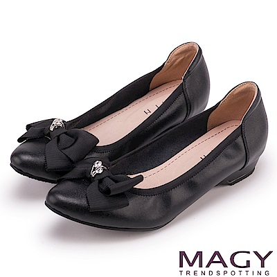 ORIN 氣質甜美風 織帶蝴蝶結牛皮尖頭低跟鞋-黑色