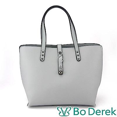 Bo Derek 造型曲線飾扣防刮手提/斜背包-灰藍