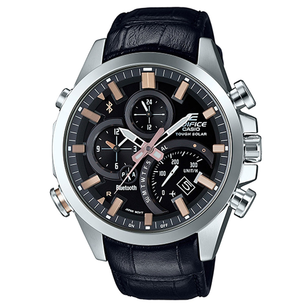EDIFICE先進技術高科技藍牙傳輸賽車皮帶錶(EQB-500L-1A)-黑/48mm
